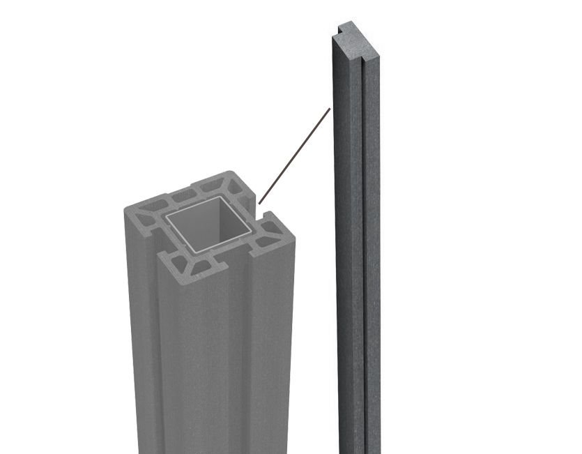Modell: Premium DeToWood Hochwertiger WPC Zaun mit Alu- Pfosten 190x9x9 cm zur Bodenmontage /& Zierleisten Ma/ße: 1,8 bis 21,6 Lfm Farbe: Granit//Grau 1.8