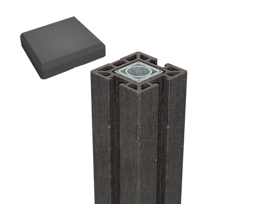 terrasso wpc bpc life torpfosten zum einbetonieren dark grey l 237 cm kp holz shop. Black Bedroom Furniture Sets. Home Design Ideas