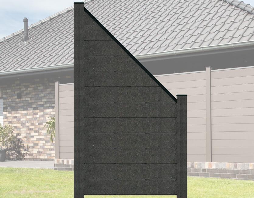 terrasso wpc bpc sichtschutzzaun abgeschr gt 90 x 180 90 cm dark grey kp holz shop. Black Bedroom Furniture Sets. Home Design Ideas