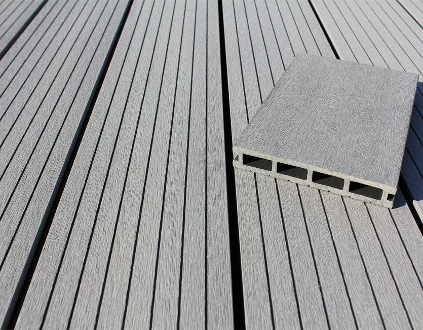 wpc bpc terrassendielen slim 20 x 140 mm l 4 m stone grey hohlkammer profil. Black Bedroom Furniture Sets. Home Design Ideas