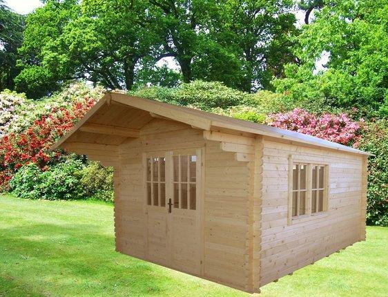 Gartenhaus Modell Edertal  3x3 m 9 m² Vordach 1 m