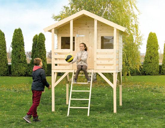 Kinderspielhaus Fichte roh Stelzenhaus Modell Mattes