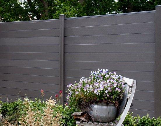 WPC / BPC Sichtschutzzaun terrasso 180 x 180 cm Life M01 dark grey