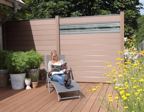 WPC / BPC Sichtschutzzaun terrasso 180 x 180 cm Life F01 Glas terrabraun