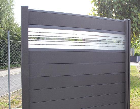 WPC / BPC Sichtschutzzaun terrasso 180 x 180 cm Life F01 Glas dark grey