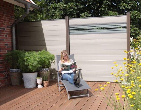 WPC/BPC Sichtschutzzaun terrasso 180 x 180 cm Life F01 Glas bi-color weiß