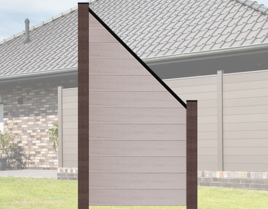 terrasso WPC / BPC Sichtschutzzaun abgeschrägt 90 x 180/90 cm bi-color weiß