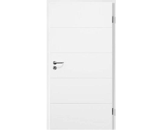 Lebo Zimmertür mit Zarge weißlack Luana light 1 inkl. Drücker Röhrenspan eckig