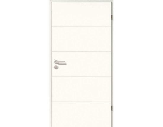Zimmertür mit Zarge weißlack Pisa smart inkl. Drücker Röhrenspanplatte Eckkante