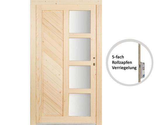 Kellertür Mehrzwecktür Element Holz Fichte roh Mod. Holzburg 5fach-Verriegelung