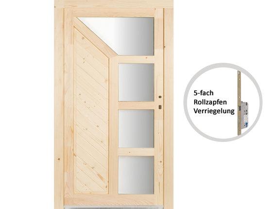 Kellertür Mehrzwecktür Element Holz Fichte roh Mod. Wasenberg 5fach-Verriegelung