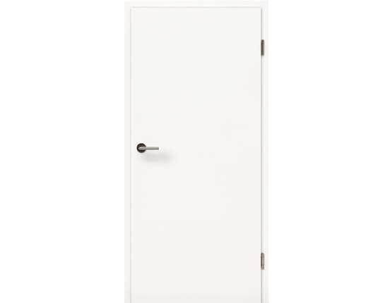 Zimmertür mit Zarge CPL Uni Weißlack Röhrenspanplatte Rundkante