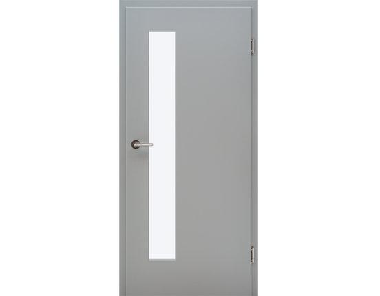 Zimmertür mit Zarge CPL Flint grey Lichtausschnitt schmal schloßseitig Eckkante