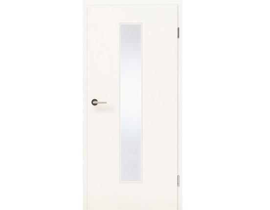 Zimmertür mit Glasausschnitt schmal und Zarge CPL Struktur weiß Rundkante