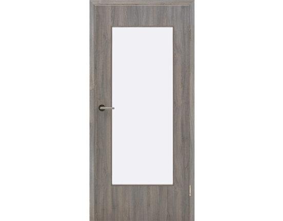 DIN Lichtausschnitt-Zimmertür mit Zarge CPL Steineiche Rundkante