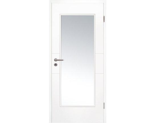 Zimmertür mit Zarge weißlack Lima 2 light LA 16/20 Lichtausschnitt Eckkante