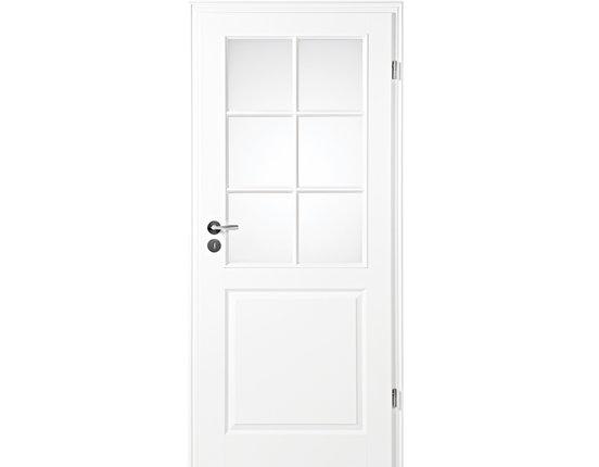Zimmertür mit Zarge Narva 3F LA-6G weißlack Lichtausschnitt Rundkante