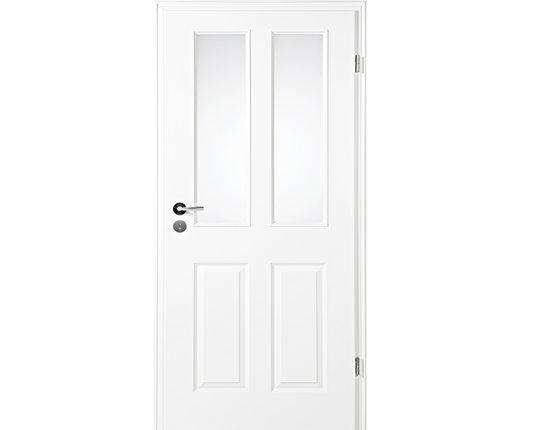 Zimmertür mit Zarge Narva 4F LA-2G weißlack Lichtausschnitt Eckkante