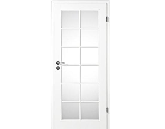 Zimmertür mit Zarge Narva 1F LA-12G weißlack Lichtausschnitt Rundkante