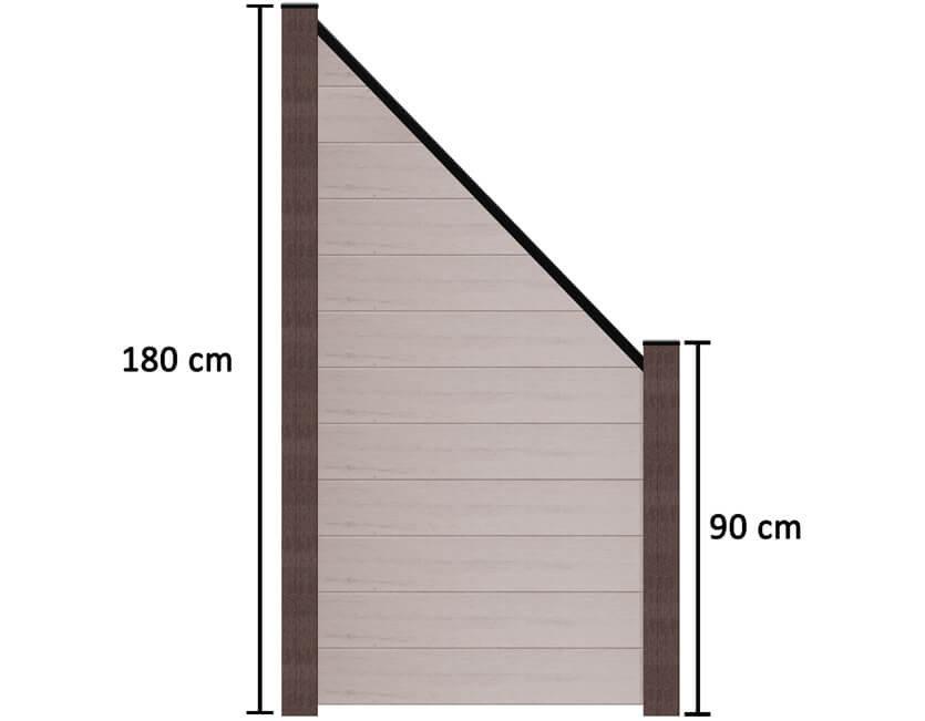 terrasso wpc bpc sichtschutzzaun abgeschr gt 90 x 180 90 cm bi color wei kp holz shop. Black Bedroom Furniture Sets. Home Design Ideas
