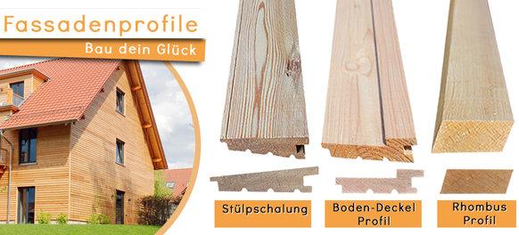 Fassadenprofile mit Stülpschalung, Boden-Deckel-Profil und Rhombus-Profil